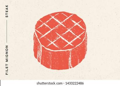 Steak, Filet Mignon. Poster with steak silhouette, text Filet Mignon, Steak. Logo typography template for meat business shop, market, restaurant or design - banner, sticker, menu. Illustration