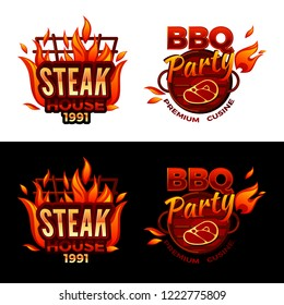 Steak house illustration for barbecue party logo or premium meat cuisine design. isolated icons of beefsteak on BBQ grill with burning fire flame for gourmet restaurant menu