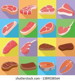 Steak icons set. Flat set of steak icons for web design