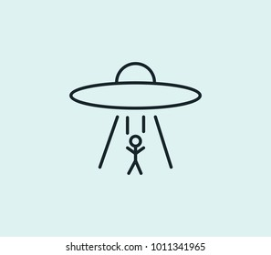 Steal icon line isolated on clean background. Ufo abduction concept drawing icon line in modern style.  illustration for your web site mobile logo app UI design.