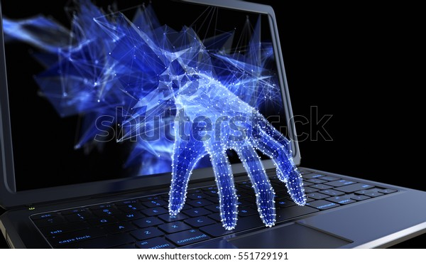 Stealing personal data through a laptop concept for a computer hacker, network security and electronic banking security. 3D illustration
