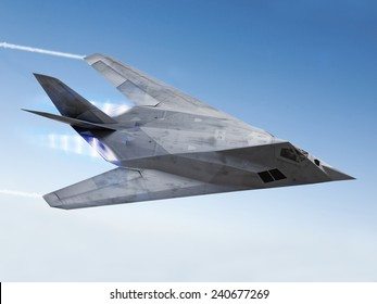 Stealth aircraft F-117 streaking through the sky with afterburners and vapor trails.