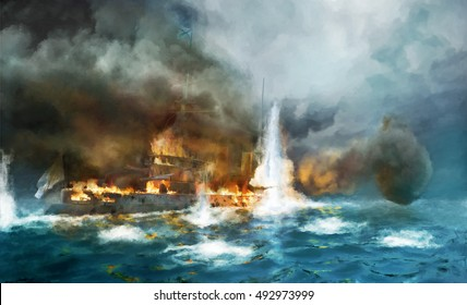 Steam battleship under fire in sea battle. Digital painting.