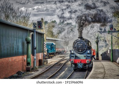 Steam Engine Locomotive Pulling into Station Oil Painting Effect