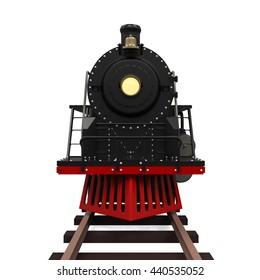 Steam Locomotive Train. 3D rendering