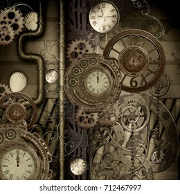Steam punk design, clocks and gears, 3d rendering