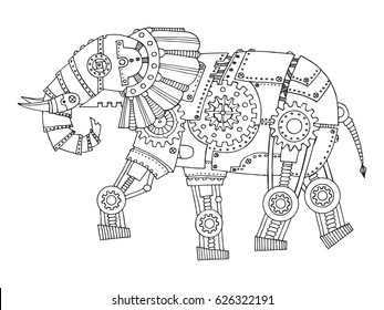Steam punk style elephant. Mechanical animal. Coloring book raster illustration.