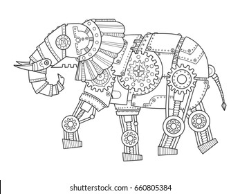 Steam punk style elephant. Mechanical animal. Coloring book raster illustration.