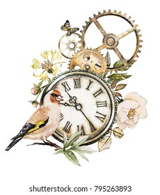 steam punk watercolor  Illustration  roses, clock, clockwork, feathers, jewelry, bird, Flowers. tattoo style.  isolated on white background. Vintage print.