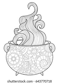 With steam witches cauldron coloring book for adults raster illustration. Anti-stress coloring for adult magic. Zentangle style. Black and white lines. Lace pattern boiler