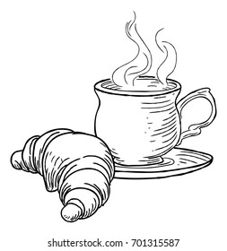 A steaming cup of tea or coffee and croissant French pastry hand draw in a retro vintage woodcut engraved or etched style.