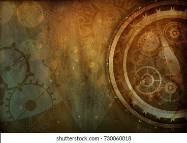 Steampunk background with compass cogs and gears on paper canvas