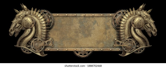 Steampunk brass banner with horse heads - 3D illustration