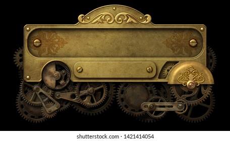 Steampunk brass decorative panel with intricate clockwork mechanism 3D illustration