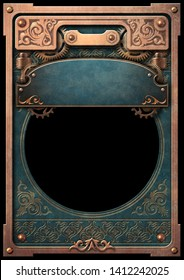 Steampunk copper frame on a blue old book cover with blue banner 3D digital illustration