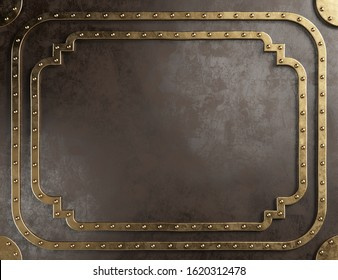 Steampunk empty metal plaque with brass border. 3d illustration