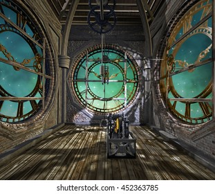 Steampunk empty room with clocks - 3D illustration