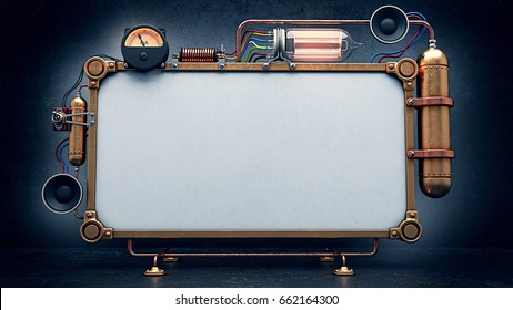 Steampunk empty screen. 3D Render