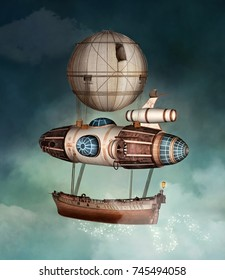 Steampunk fantasy vessel - 3D illustration