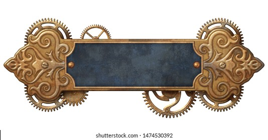Steampunk frame with brass ornaments and cogwheel mechanism 3D illustration