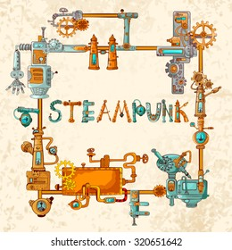 Steampunk frame with industrial machines gears chains and technical elements  illustration