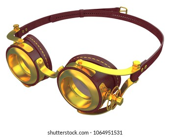 steampunk glasses with gold and red leather isolated on a white background 3d rendering