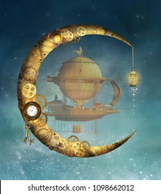 Steampunk gold moon and vessel - 3D mixed media illustration