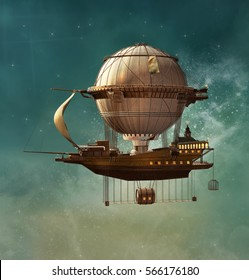Steampunk hot air balloon - 3D illustration