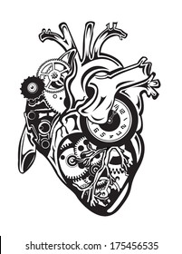 Steampunk Human Heart with Gears and Clock Pieces
