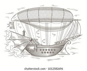 steampunk illustration of a fantastic wooden flying ship in the style of engraving. Print, template, design element