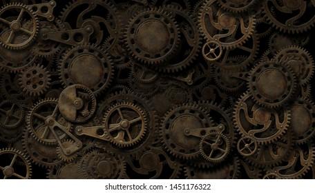 Steampunk intricate clockwork mechanism background 3D illustration