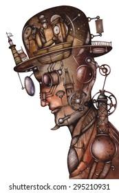 Steampunk Man Illustration