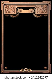 Steampunk metallic frame with copper clockwork gears isolated on black 3D digital illustration