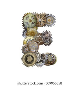 steampunk metallic gears font, letter e