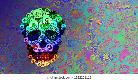 Steampunk psychedelic skull concept or steam punk science fiction historical fantasy with a group of gears and cogs shaped as a head skeleton as a 3D illustration.