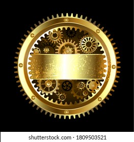 Steampunk round banner with gears on a black background.