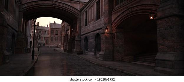 Steampunk scene. Dark evening in the ancient city. Lanterns illuminating old brick buildings. Beautiful night cityscape. Photorealistic 3D illustration.
