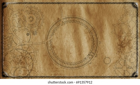Steampunk sign on canvas background with cogs and gears