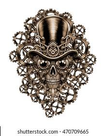 Steampunk skull  in hat and  . Digital fantastic  illustration.