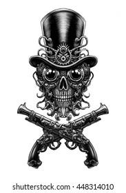 Steampunk skull  in hat and  guns . Digital fantastic  illustration.