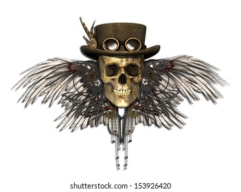 A Steampunk Skull isolated on white - 3d render.