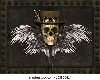 A Steampunk Skull on a metal plate background - 3d render.