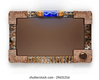 Steampunk style ad board isolated on white background. Excellent material for web-design. Clipping path included.