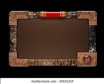Steampunk style ad board isolated on black background. Excellent material for web-design. Clipping path included.