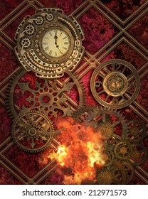 Steampunk style background with gears and clocks.