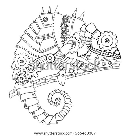ste unk style chameleon mechanical animal coloring stock  ste unk style chameleon mechanical animal coloring book raster illustration