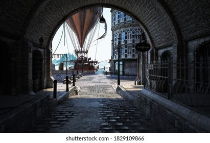 Steampunk style city streets with a view through a tunnel and a steam powered hot air balloon in the background . 3d rendering
