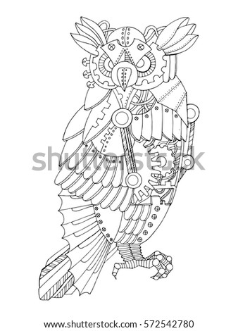 ste unk style owl mechanical animal coloring stock illustration  ste unk style owl mechanical animal coloring book raster illustration