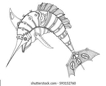 Similar Images Stock Photos Vectors Of Steam Punk Style Swordfish Mechanical Animal Coloring Book Vector Illustration 590158493 Shutterstock