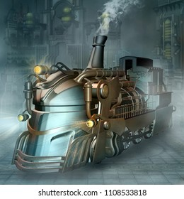 Steampunk Train - 3D illustration